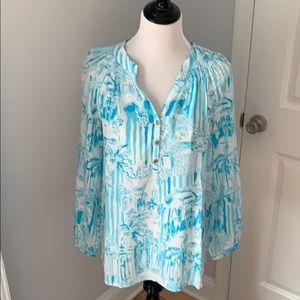 🌴 Lilly Pulitzer Elsa Silk Top Shirt Toile